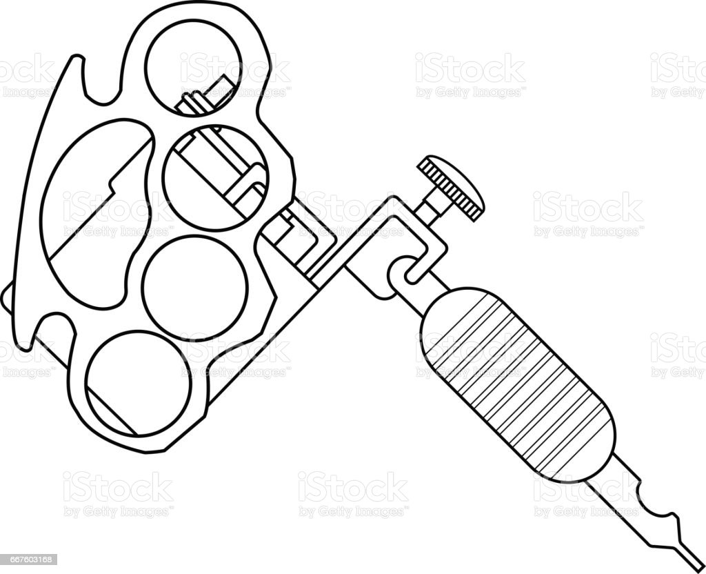 Tattoo Machine Line Drawing : Tattoo machine drawing stock vector art more images of