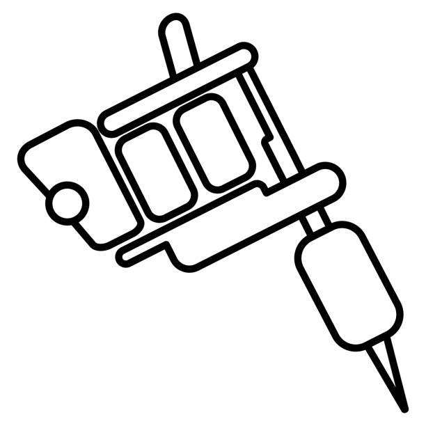 Tattoo Machine Icon On White Background Vector Art Illustration
