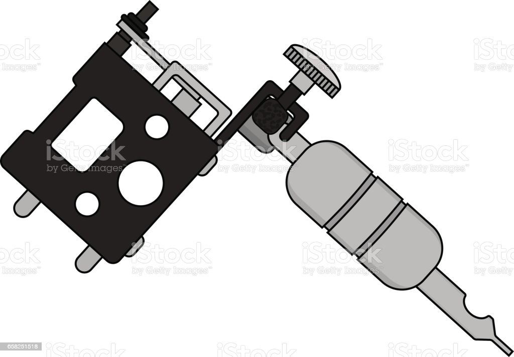 silhouette of the tattoo machine clip art, vector images