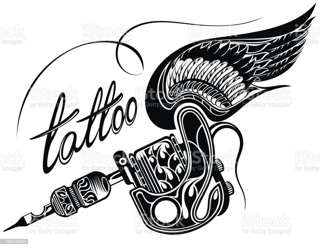 Tattoo Machien Etch Drawing: Tattoo Machine Withwings Isolated On White Background