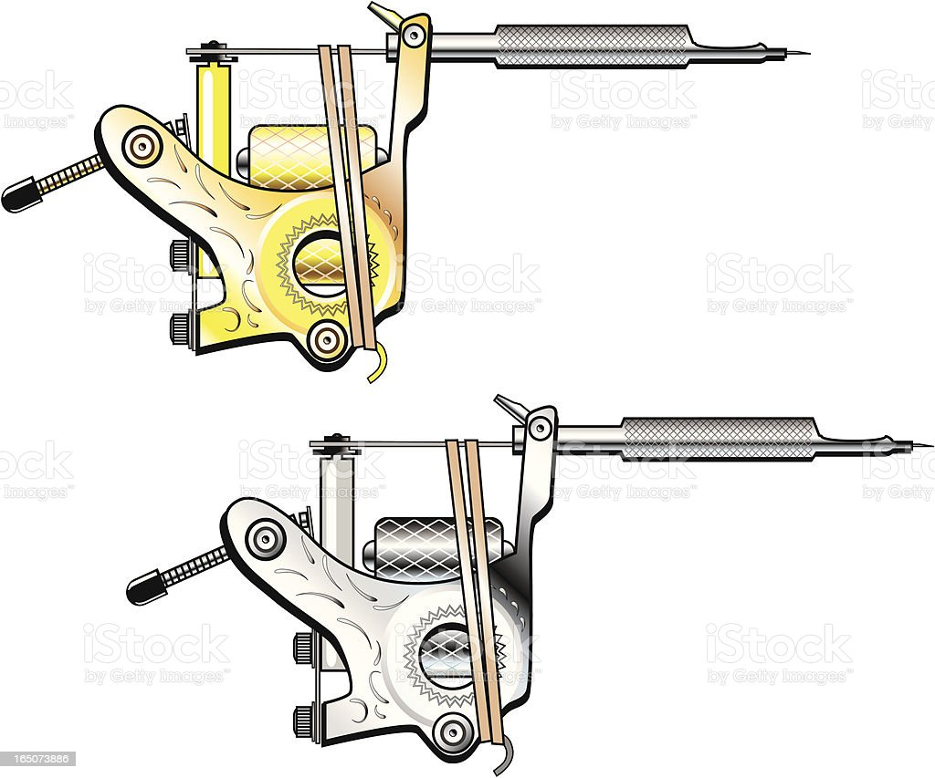 Tattoo Machines in Gold and Silver royalty-free stock vector art