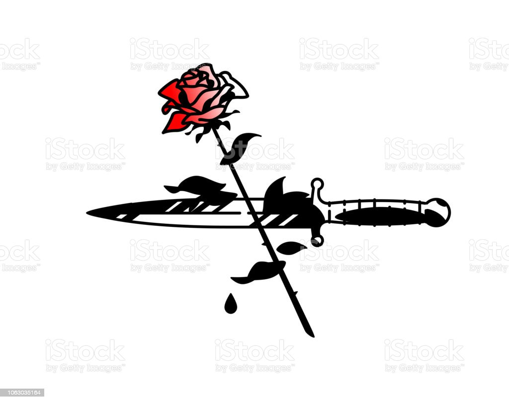 Royalty Free Silhouette Of Black Rose With Blood Clip Art Vector