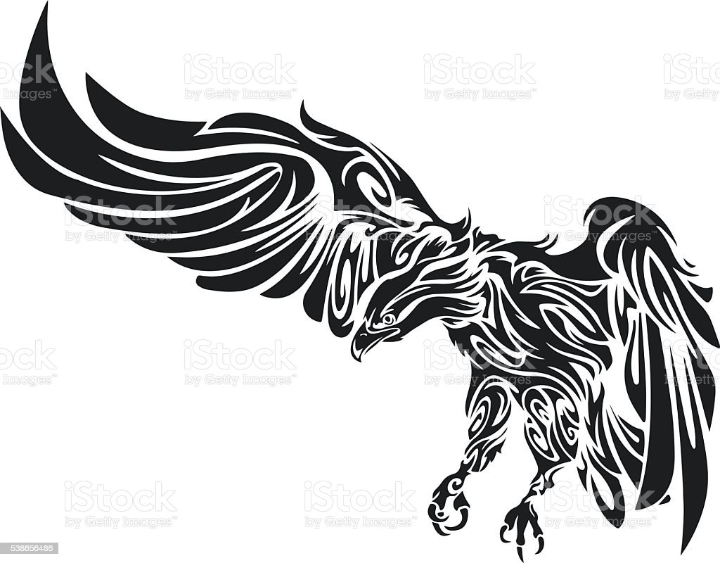 Tattoo of an eagle. Men's tattoo. Women's tattoo. vector art illustration