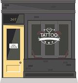 Tattoo parlor facade,shop.