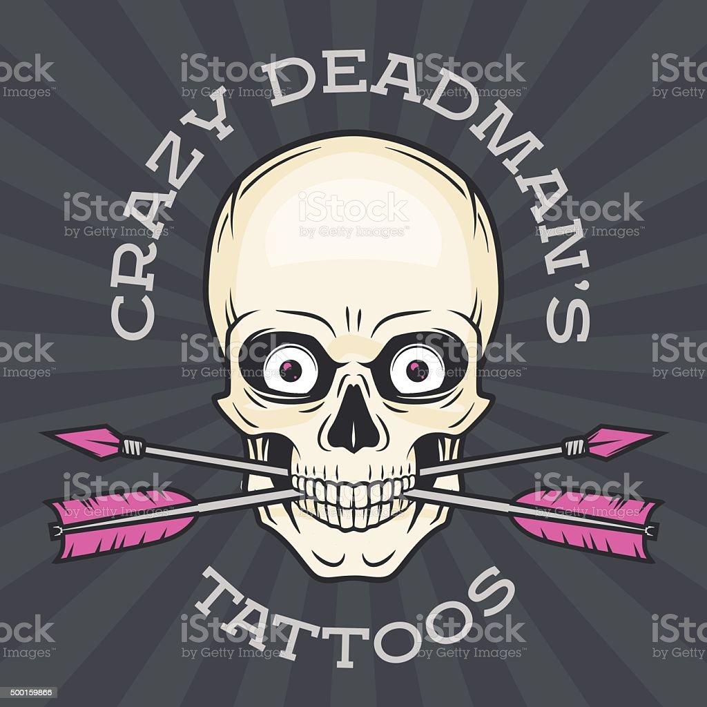 Tattoo Salon Vorlage Hipster Mit Totenkopf Mit Gekreuzten Pfeilen ...