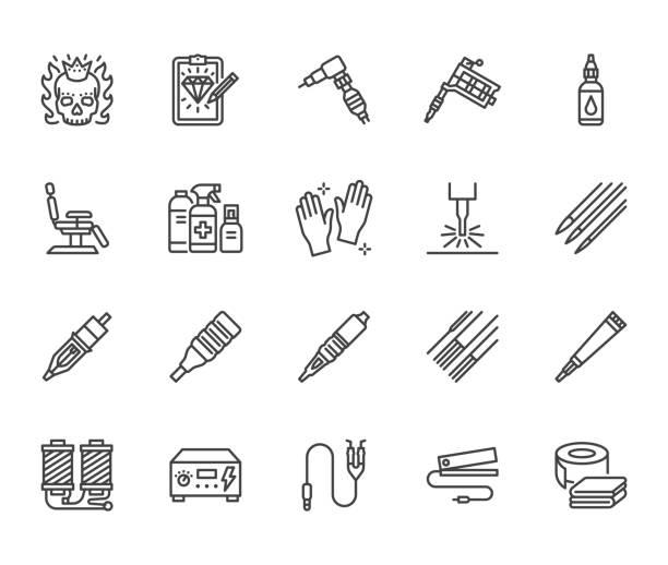ilustraciones, imágenes clip art, dibujos animados e iconos de stock de tatuaje, equipo de perforación iconos de línea plana conjunto. máquina de tatuajes, aguja, pintura, boceto, cráneo, ilustraciones vectoriales de eliminación láser. señales de esquema para el estudio. píxel perfecto 64x64. trazos editables - tatuajes de diamantes