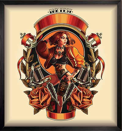 Tattoo pin up poster