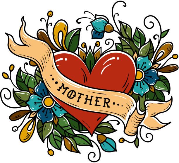 ilustraciones, imágenes clip art, dibujos animados e iconos de stock de tatuaje corazón rojo decorado cinta, flores, hojas y rizos. letras de la madre. vieja escuela tattoo - tatuajes de corazones