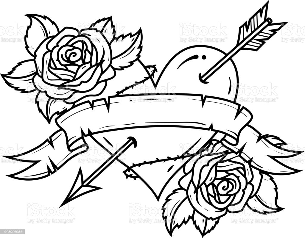 Tattoo red heart pierced by arrow with ribbon and roses symbol of tattoo red heart pierced by arrow with ribbon and roses symbol of love and passion buycottarizona Choice Image