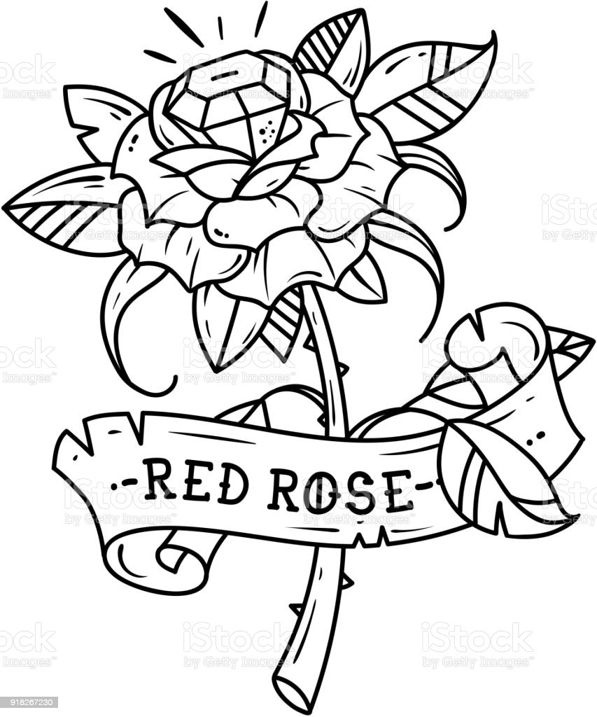 Tattoo red rose with blue gem inside passion love black and white tattoo red rose with blue gem inside passion love black and white illustration royalty biocorpaavc Choice Image