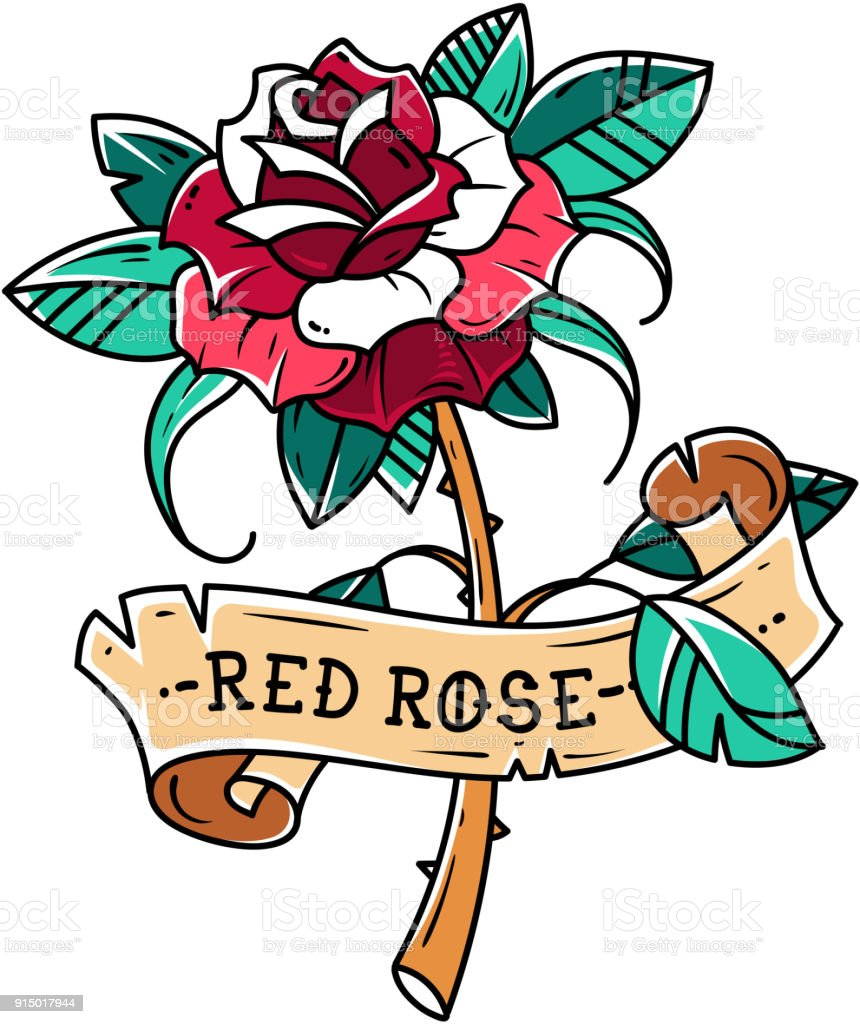 Tattoo Red Rose With Ribbon Symbol Of Passion Loverose Is Wrapped In