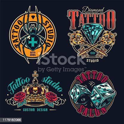 Tattoo salon colorful labels set with spooky cross spider dice crossed antique keys diamond ornate royal crown rose flowers in vintage style isolated vector illustration