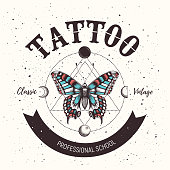 Tattoo school poster. Banner with mystical butterfly tattoo and orbiting moon. Geometry style.