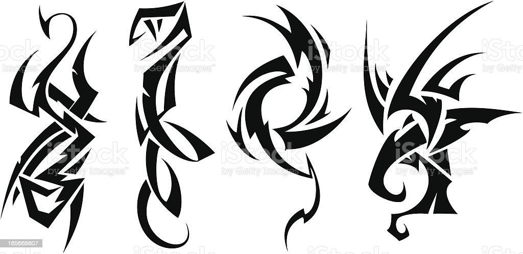 Tatuaje set (animales - ilustración de arte vectorial