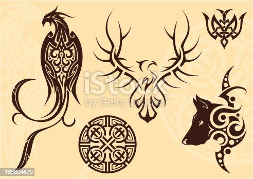 Tattoo set (phoenix, eagle, wolf and patterns).