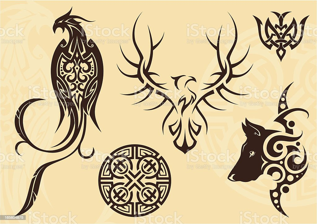 Tattoo set vector art illustration