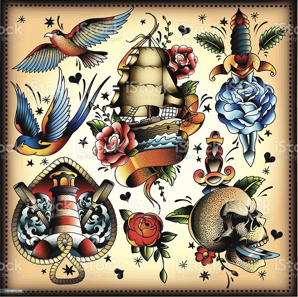 Tattoo Set Stock Illustration - Download Image Now - iStock