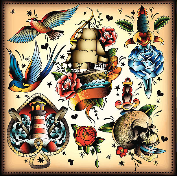 tattoo-set - vogel tattoos stock-grafiken, -clipart, -cartoons und -symbole