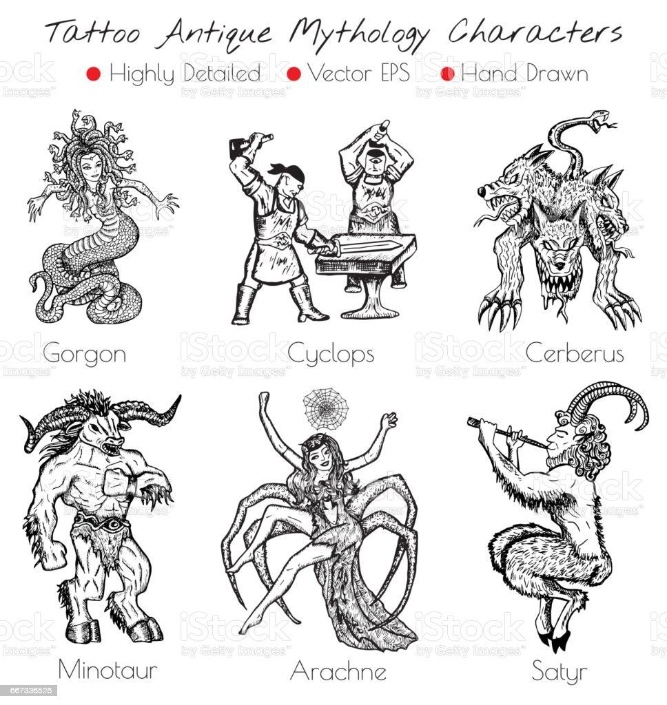 Tatouage Serti De Main Dessine Des Personnages De La Mythologie