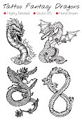 Tattoo set with hand drawn fantasy dragons