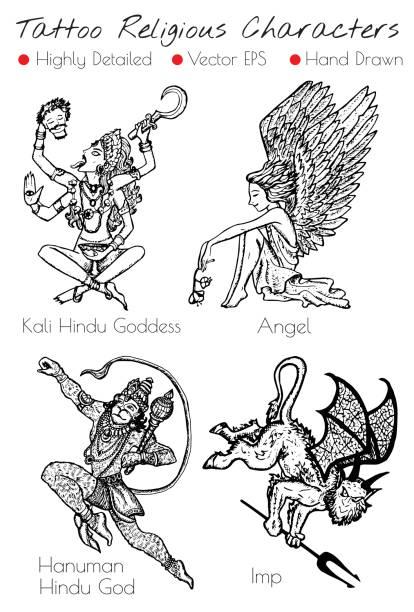 tattoo set mit hand gezeichnet religiöse zeichen - engel tattoos stock-grafiken, -clipart, -cartoons und -symbole