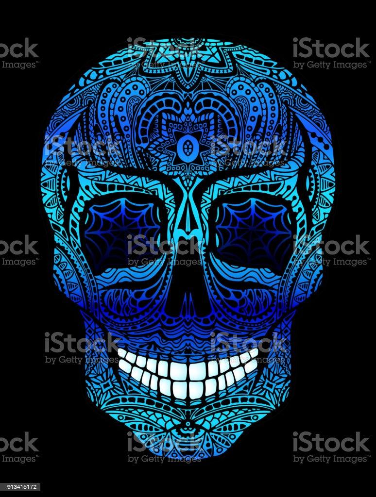 Tatouage Crane Aux Yeux Bleus Illustration Vectorielle En Noir Sur