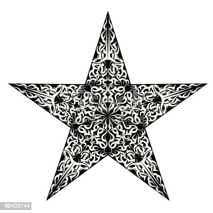 Tattoo Star Stock Vector Art & More Images of Black Color 98409744