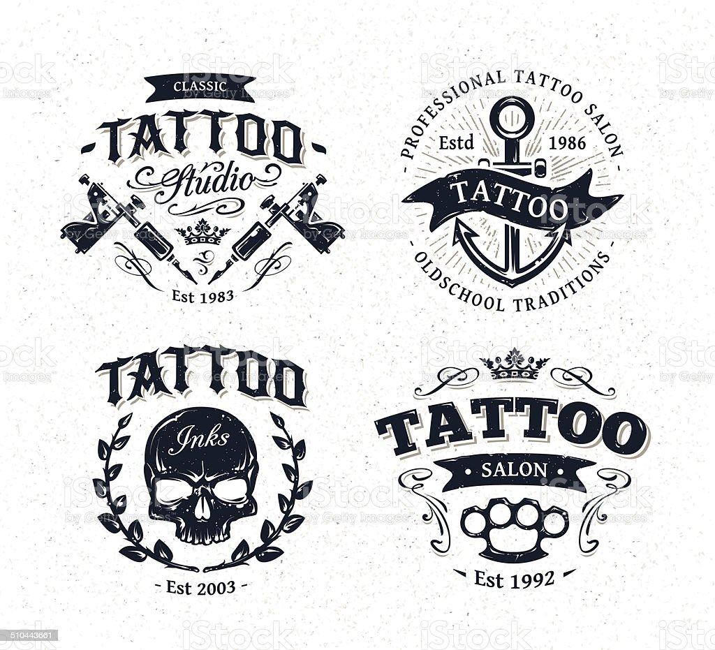 Tattoo Studio Emblems vector art illustration