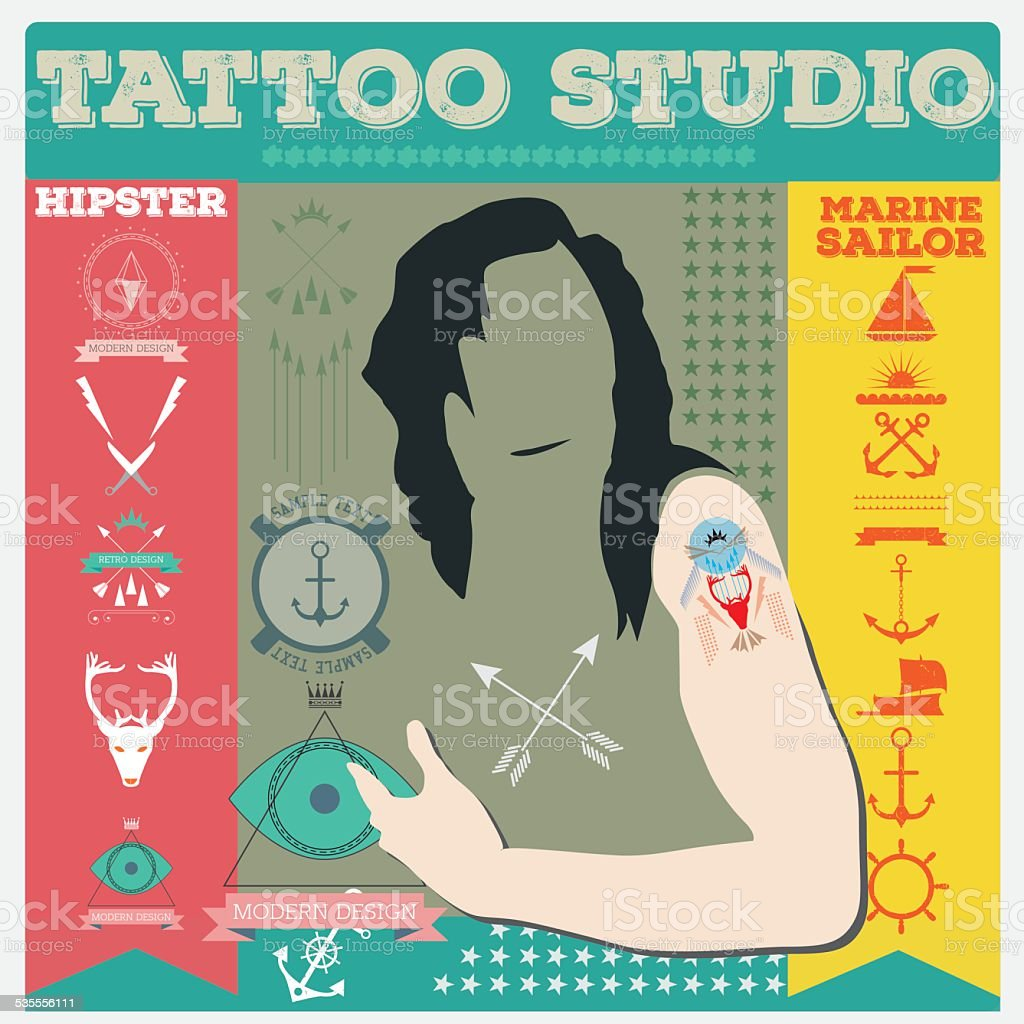 Tattoo-studio, hipster und marine-Tattoo-set Vektor-illustration – Vektorgrafik
