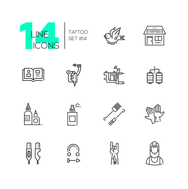 tattoo studio - line icons set - vogel tattoos stock-grafiken, -clipart, -cartoons und -symbole