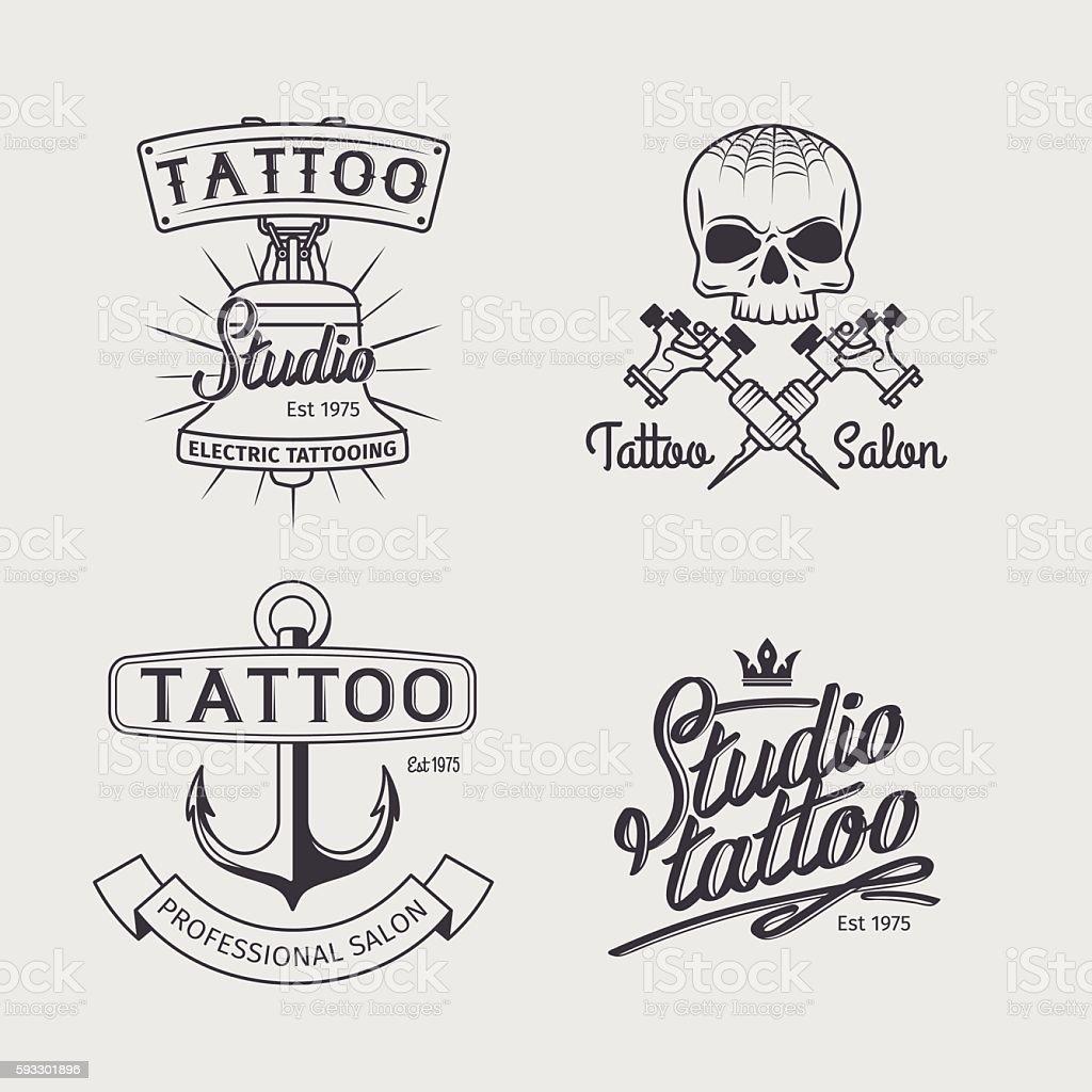 tattoo studio logo templates いかりのベクターアート素材や画像を