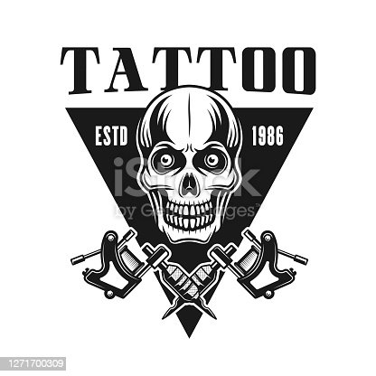 Tattoo studio vector emblem with skull in vintage monochrome style isolated on white background
