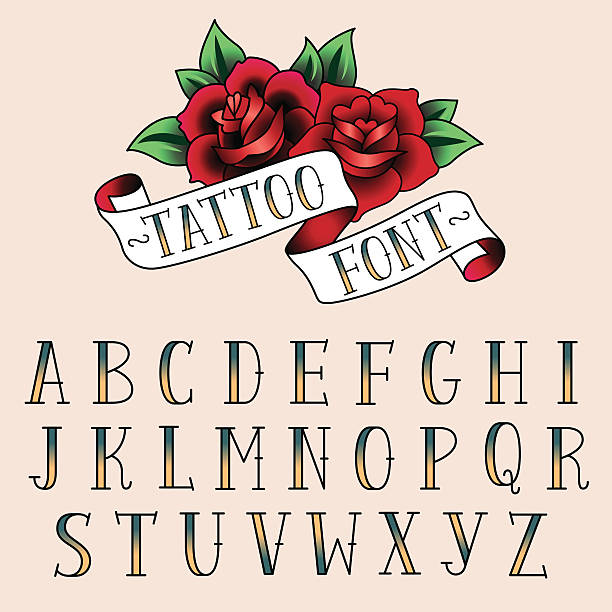 illustrations, cliparts, dessins animés et icônes de style tatouage alfabeth - tatouage