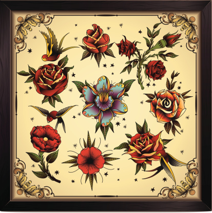 Tattoo style flowers