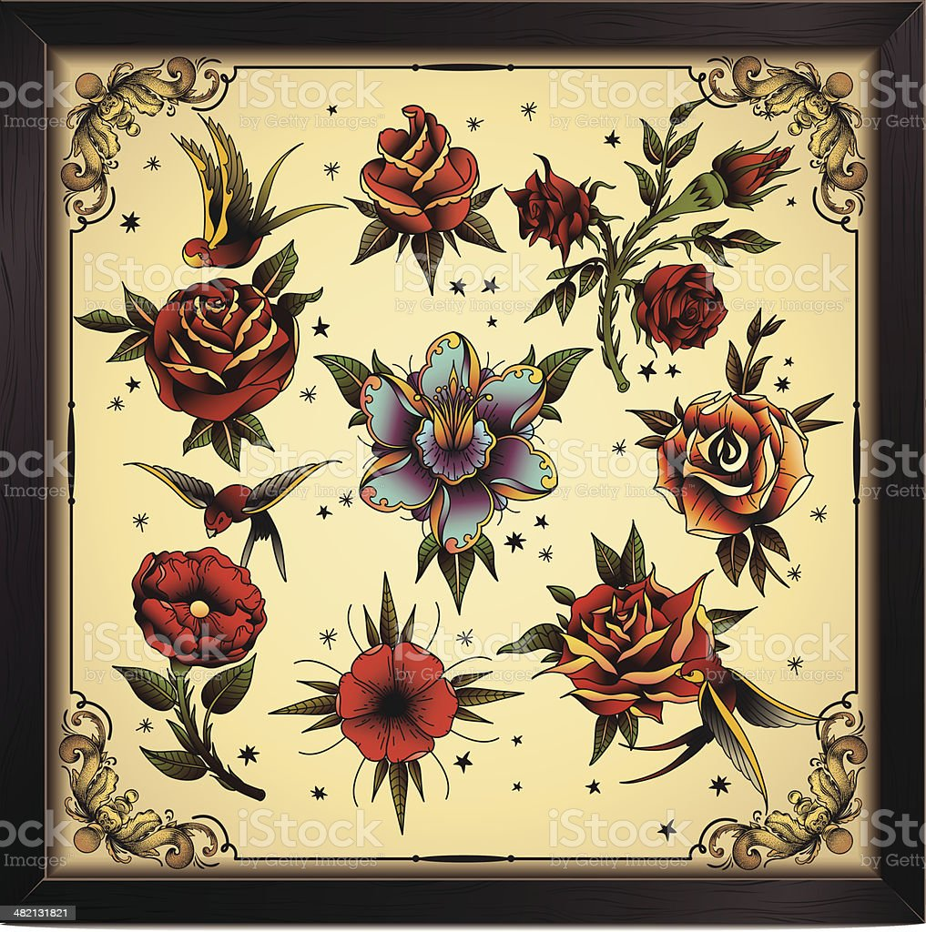 Tattoo style flowers vector art illustration