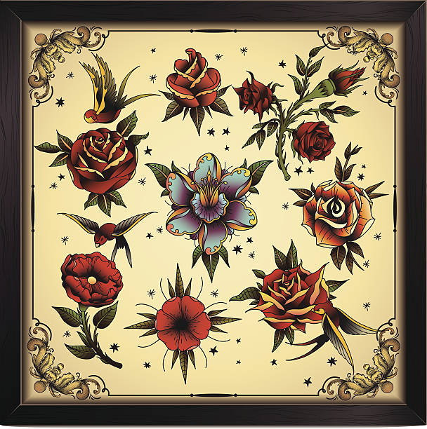 Tattoo style flowers Vector flowers in old traditional tattoo style. flowers tattoos stock illustrations
