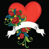Tattoo Style Heart, Roses & Banner