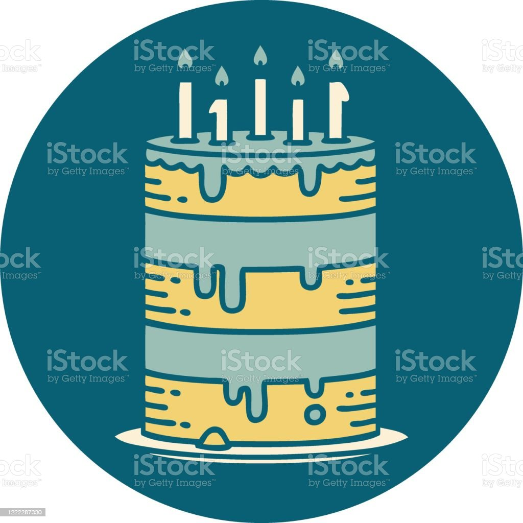 Cool Tattoo Style Icon Of A Birthday Cake Stock Illustration Download Birthday Cards Printable Riciscafe Filternl