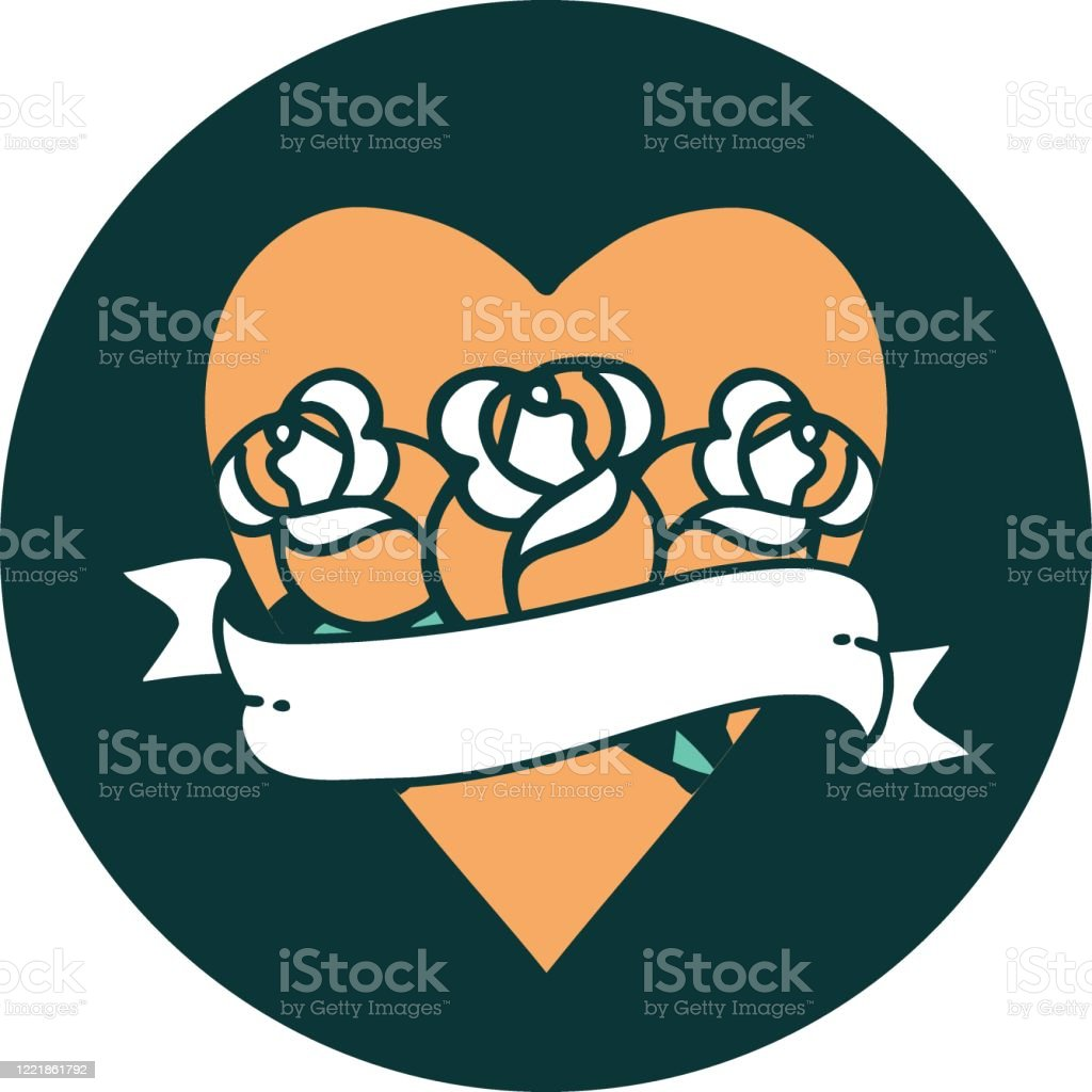 Tattoo Style Icon Of A Heart And Banner With Flowers Stock Illustration Download Image Now Istock