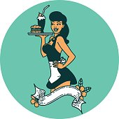 tattoo in traditional style of a pinup waitress girl with banner