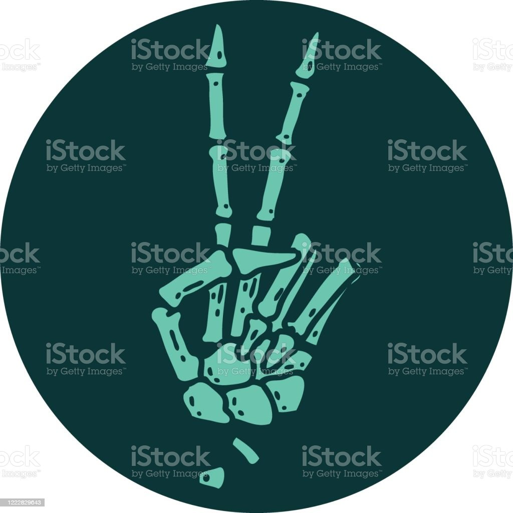 Tattoo Style Icon Of A Skeleton Hand Giving A Peace Sign Stock Illustration Download Image Now Istock 3,000+ vectors, stock photos & psd files. https www istockphoto com vector tattoo style icon of a skeleton hand giving a peace sign gm1222829643 358968503