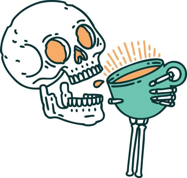bildbanksillustrationer, clip art samt tecknat material och ikoner med tatuering stil ikon av en skalle dricka kaffe - coffe with death
