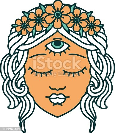 istock tattoo style icon of female face 1222570924