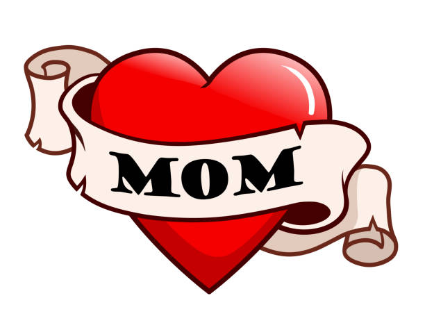 """illustrations, cliparts, dessins animés et icônes de tatouage style coeur rouge avec ruban défilement autour d'elle qui dit """"maman"""". famille, amour, la journée des mères design de tatouage vintage thème. - tatouages cœurs"""