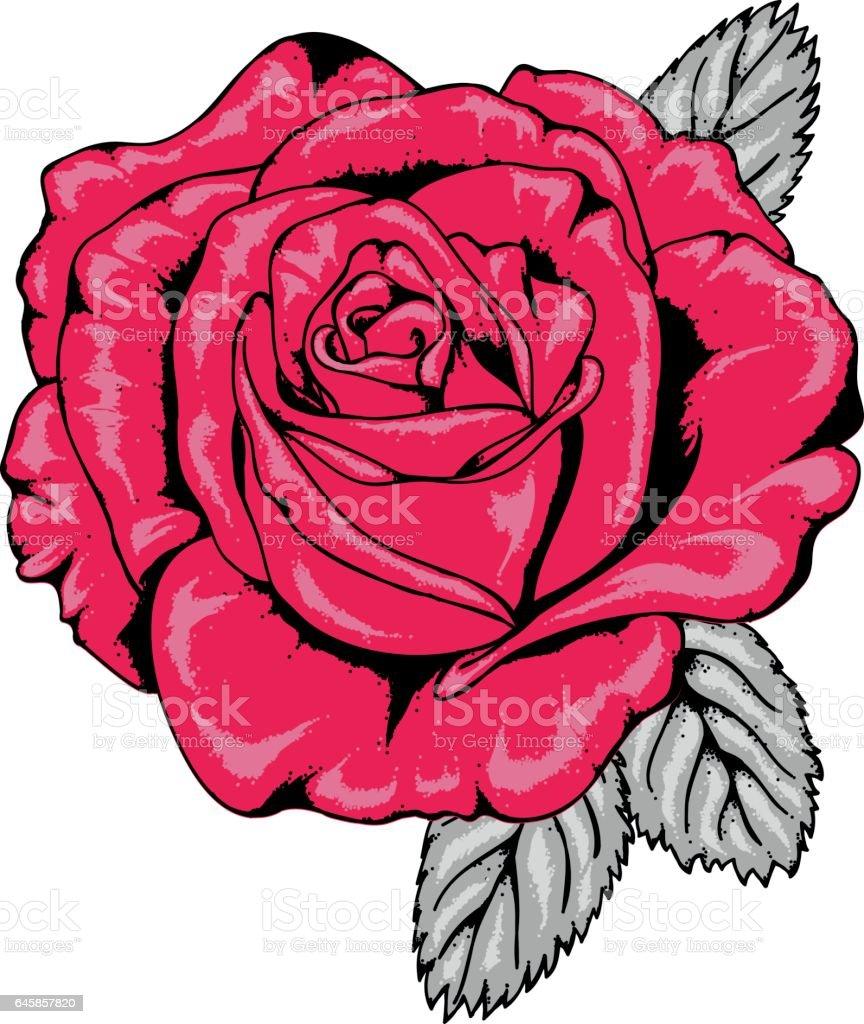 Style De Tatouage Vecteur De Rose Rouge Avec Noir Decrit V1