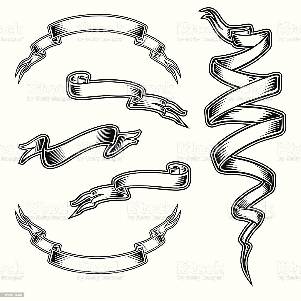 Tattoo Style Ribbon Set Stock Vector Art & More Images Of