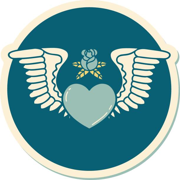 tattoo style sticker of a heart with wings vector art illustration
