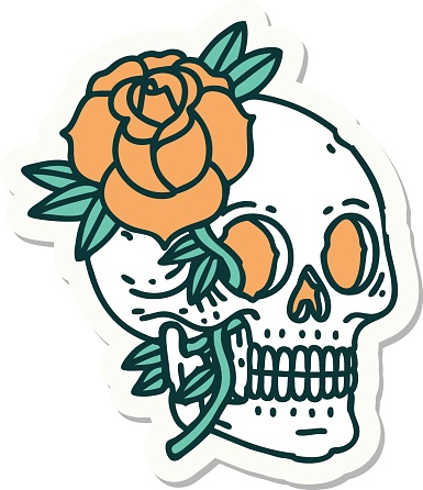 tattoo style sticker of a skull and rose