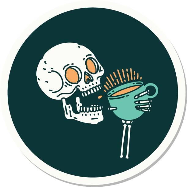 bildbanksillustrationer, clip art samt tecknat material och ikoner med tatuering stil klistermärke av en skalle dricka kaffe - coffe with death