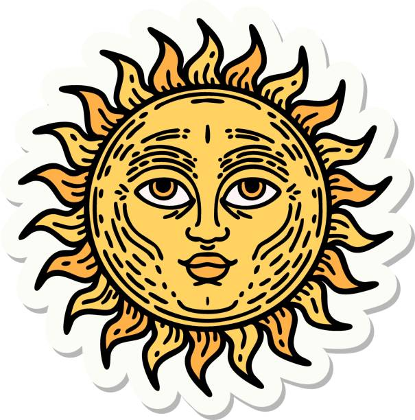 tattoo style sticker of a sun with face vector art illustration